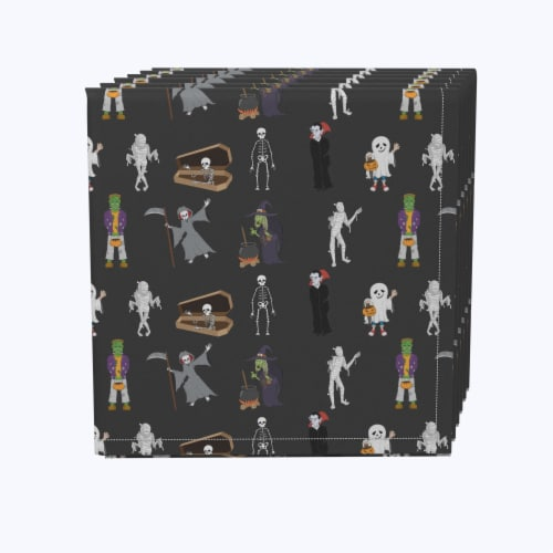 "Napkin Set, 100% Polyester, Set of 12, 18x18"", Halloween Usual Characters Perspective: front"
