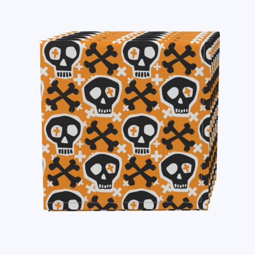 "Napkin Set, 100% Polyester, Set of 12, 18x18"", Hipster Skull and Bones Perspective: front"