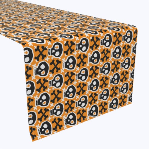 "Table Runner, 100% Polyester, 14x108"", Hipster Skull and Bones Perspective: front"