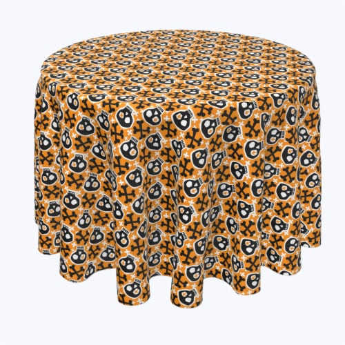 "Round Tablecloth, 100% Polyester, 60"" Round, Hipster Skull and Bones Perspective: front"