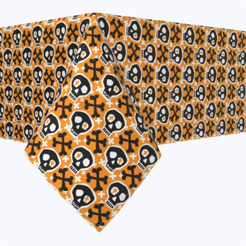 "Rectangular Tablecloth, 100% Polyester, 60x104"", Hipster Skull and Bones Perspective: front"