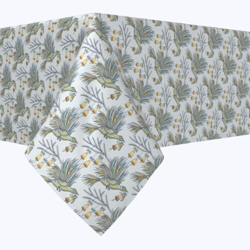 """Rectangular Tablecloth, 100% Polyester, 60x104"""", Holiday Birds and Bells Perspective: front"""