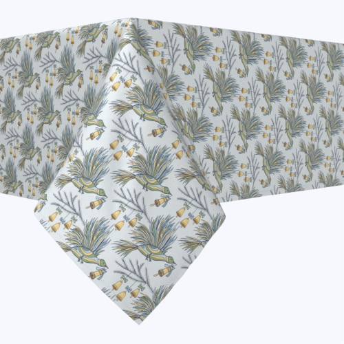 """Rectangular Tablecloth, 100% Polyester, 60x84"""", Holiday Birds and Bells Perspective: front"""