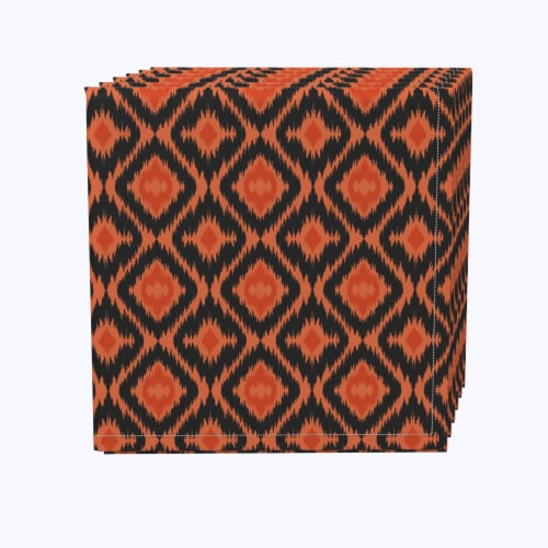 "Napkin Set, 100% Polyester, Set of 12, 18x18"", Ikat Halloween Perspective: front"