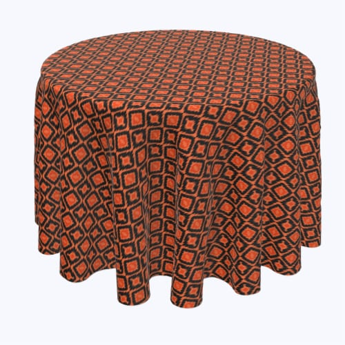 "Round Tablecloth, 100% Polyester, 60"" Round, Ikat Halloween Perspective: front"