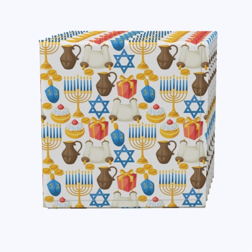 "Napkin Set, 100% Polyester, Set of 12, 18x18"", Menorah Memories Perspective: front"