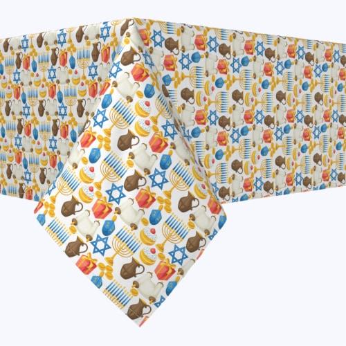 "Rectangular Tablecloth, 100% Polyester, 60x120"", Menorah Memories Perspective: front"