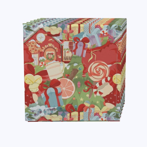 "Napkin Set, 100% Polyester, Set of 12, 18x18"", Merry Christmas Wonderland Perspective: front"