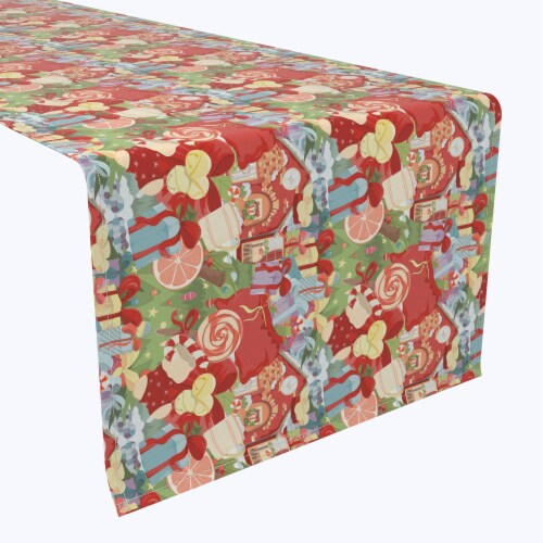 "Table Runner, 100% Polyester, 12x72"", Merry Christmas Wonderland Perspective: front"