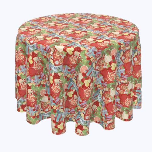 "Round Tablecloth, 100% Polyester, 60"" Round, Merry Christmas Wonderland Perspective: front"