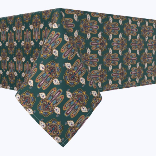 """Square Tablecloth, 100% Polyester, 60x60"""", Ornamental Hamsa Decoration Perspective: front"""