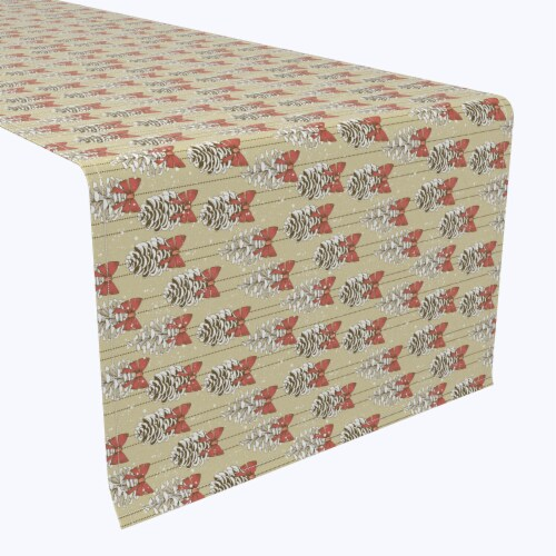 """Table Runner, 100% Polyester, 14x108"""", Pine Cones with Bows Perspective: front"""