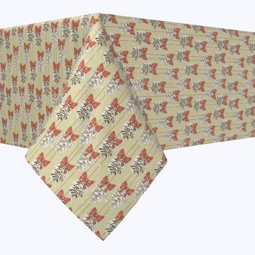 """Rectangular Tablecloth, 100% Polyester, 60x84"""", Pine Cones with Bows Perspective: front"""