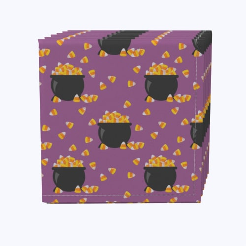 """Napkin Set, 100% Polyester, Set of 12, 18x18"""", Pot of Candy Corn Perspective: front"""