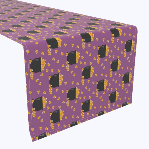"Table Runner, 100% Polyester, 14x108"", Pot of Candy Corn Perspective: front"
