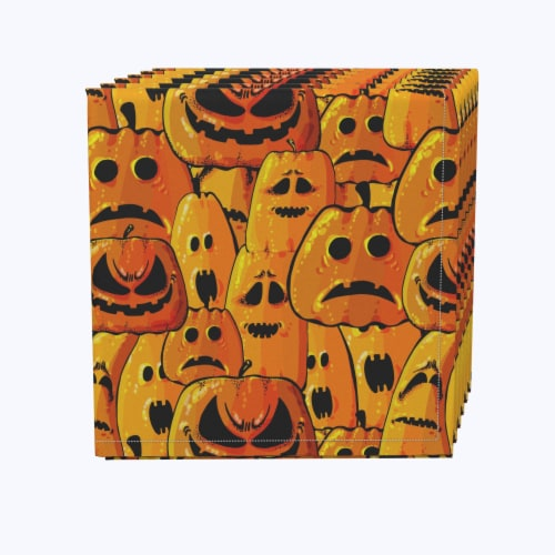 """Napkin Set, 100% Polyester, Set of 12, 18x18"""", Pumpkin Ghost Faces Perspective: front"""