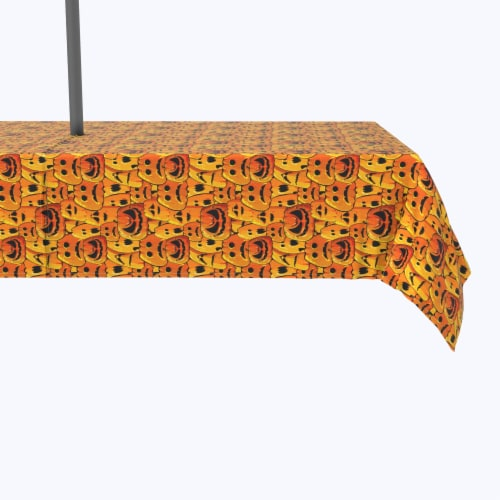 """Water Repellent, Outdoor, 100% Polyester, 60x120"""", Pumpkin Ghost Faces Perspective: front"""