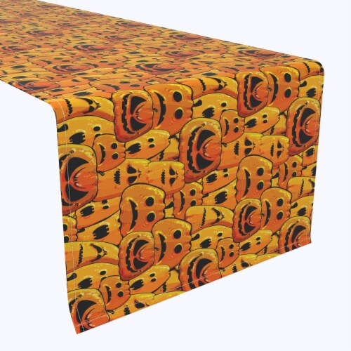 "Table Runner, 100% Polyester, 14x108"", Pumpkin Ghost Faces Perspective: front"