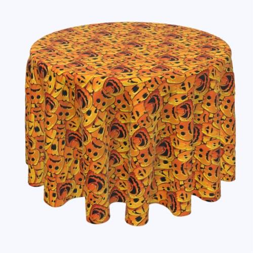 "Round Tablecloth, 100% Polyester, 60"" Round, Pumpkin Ghost Faces Perspective: front"