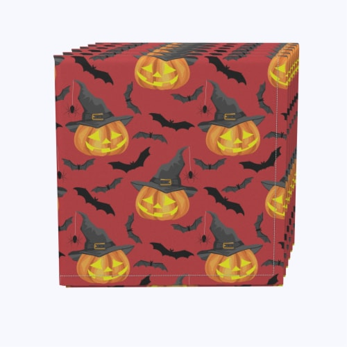 "Napkin Set, 100% Polyester, Set of 12, 18x18"", Pumpkin in Hats and Bats Perspective: front"