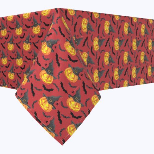 "Rectangular Tablecloth, 100% Polyester, 60x84"", Pumpkin in Hats and Bats Perspective: front"