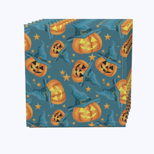 "Napkin Set, 100% Polyester, Set of 12, 18x18"", Pumpkin Witch Hat and Stars Perspective: front"