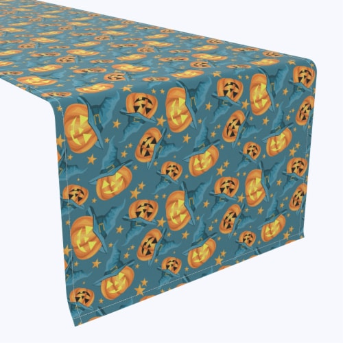 "Table Runner, 100% Polyester, 12x72"", Pumpkin Witch Hat and Stars Perspective: front"