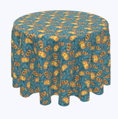 """Round Tablecloth, 100% Polyester, 60"""" Round, Pumpkin Witch Hat and Stars Perspective: front"""