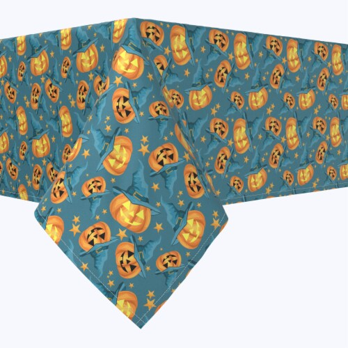 "Rectangular Tablecloth, 100% Polyester, 60x84"", Pumpkin Witch Hat and Stars Perspective: front"