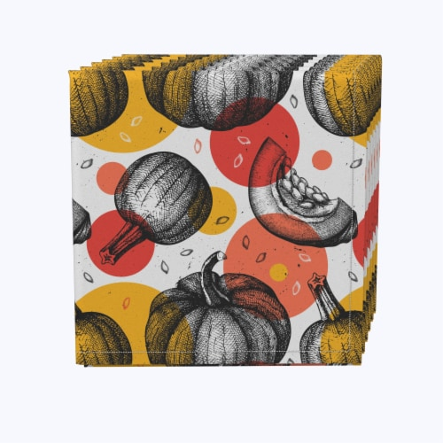 "Napkin Set, 100% Polyester, Set of 12, 18x18"", Pumpkins and Autumn Dots Perspective: front"