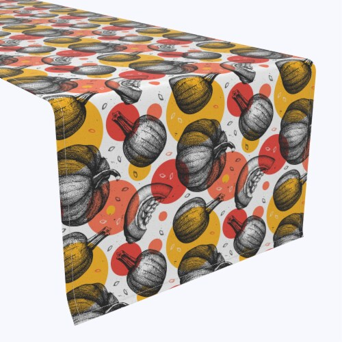 """Table Runner, 100% Polyester, 14x108"""", Pumpkins and Autumn Dots Perspective: front"""
