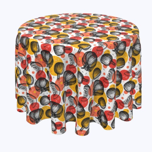 """Round Tablecloth, 100% Polyester, 60"""" Round, Pumpkins and Autumn Dots Perspective: front"""