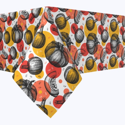 "Rectangular Tablecloth, 100% Polyester, 60x104"", Pumpkins and Autumn Dots Perspective: front"