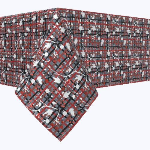"""Square Tablecloth, 100% Polyester, 84x84"""", Red Beautiful Berry Weave Perspective: front"""