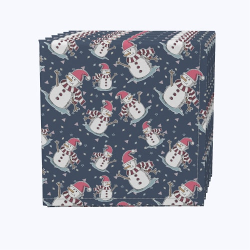 """Napkin Set, 100% Polyester, Set of 12, 18x18"""", Smiling Snowmen Toss Perspective: front"""