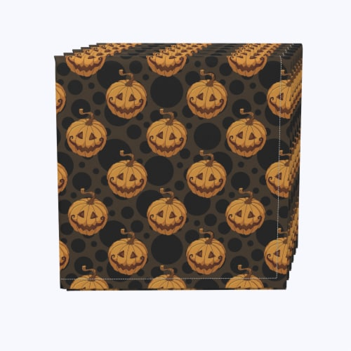 "Napkin Set, 100% Polyester, Set of 12, 18x18"", Spooky Pumpkin Smiles Perspective: front"
