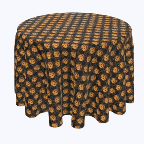 """Round Tablecloth, 100% Polyester, 60"""" Round, Spooky Pumpkin Smiles Perspective: front"""