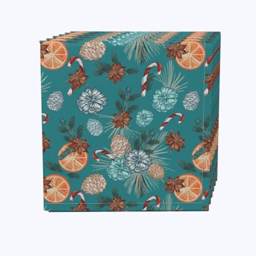 "Napkin Set, 100% Polyester, Set of 12, 18x18"", Vintage Winter Pattern Perspective: front"