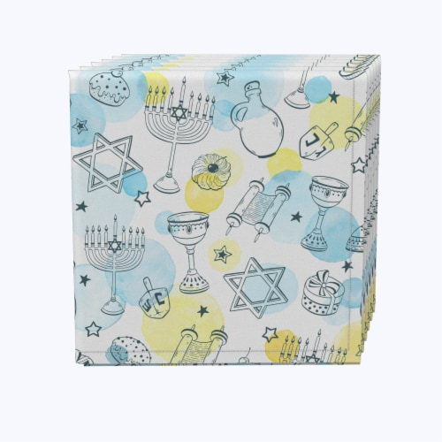 "Napkin Set, 100% Polyester, Set of 12, 18x18"", Watercolor Hanukkah and Dots Perspective: front"