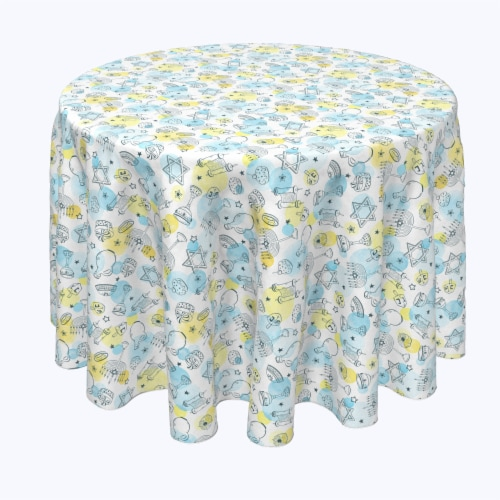 "Round Tablecloth, 100% Polyester, 60"" Round, Watercolor Hanukkah and Dots Perspective: front"