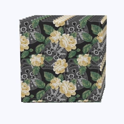 """Napkin Set, 100% Polyester, Set of 12, 18x18"""", White Rose and Skull Faces Perspective: front"""