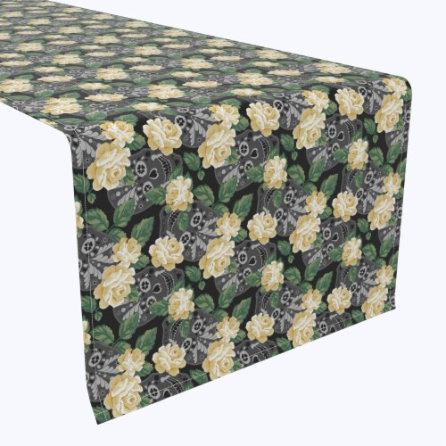 """Table Runner, 100% Polyester, 12x72"""", White Rose and Skull Faces Perspective: front"""