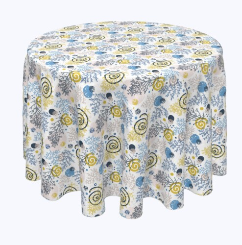 "Round Tablecloth, 100% Polyester, 60"" Round, Winter Swirls and Twirls Perspective: front"
