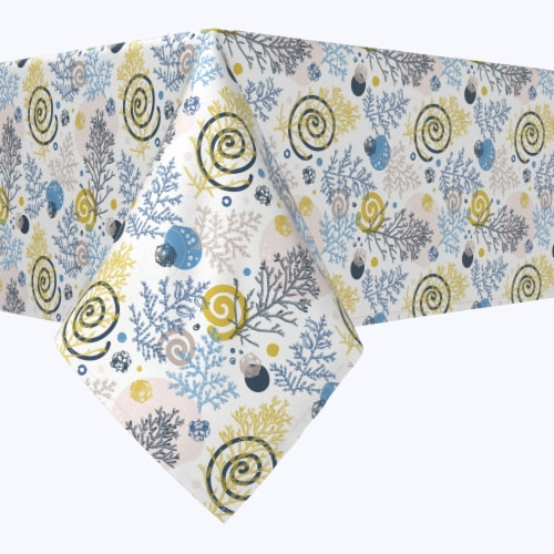 """Rectangular Tablecloth, 100% Polyester, 60x120"""", Winter Swirls and Twirls Perspective: front"""