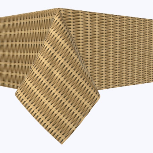 """Rectangular Tablecloth, 100% Polyester, 60x104"""", Cane Weave Baskets Perspective: front"""