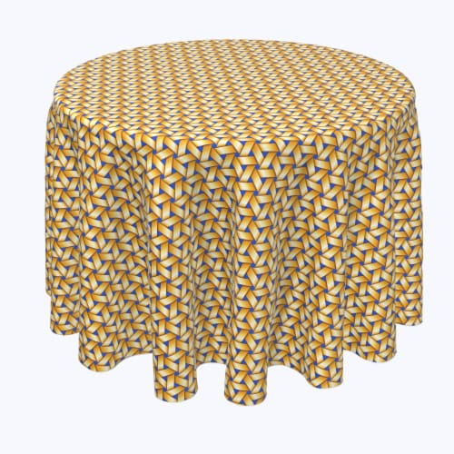 """Round Tablecloth, 100% Polyester, 102"""" Round, Handmade Straw Wicker Perspective: front"""