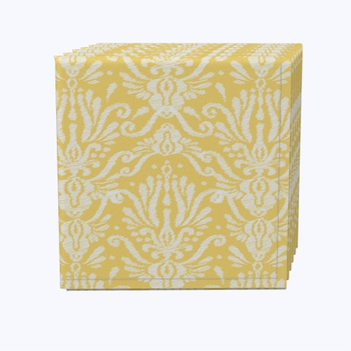 "Napkin Set, 100% Polyester, Set of 12, 18x18"", Yellow Keyhole Damask Perspective: front"
