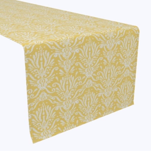 """Table Runner, 100% Polyester, 12x72"""", Yellow Keyhole Damask Perspective: front"""