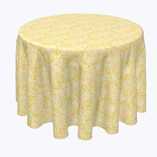 "Round Tablecloth, 100% Polyester, 60"" Round, Yellow Keyhole Damask Perspective: front"