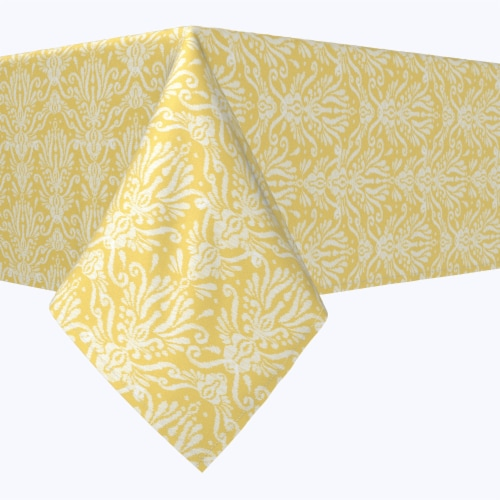 "Rectangular Tablecloth, 100% Polyester, 60x84"", Yellow Keyhole Damask Perspective: front"